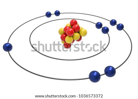 Bohr Model Fluorine Atom Proton Neutron Stock Illustration