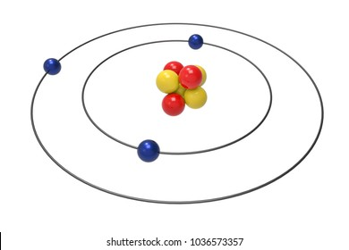 Bohr model of Lithium Atom with proton, neutron and electron. Science and chemical concept 3d illustration