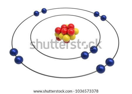 Bohr Model Neon Atom Proton Neutron Stock Illustration 1036573378
