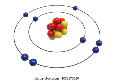Bohr model of Oxygen Atom with proton, neutron and electron. Science and chemical concept 3d illustration