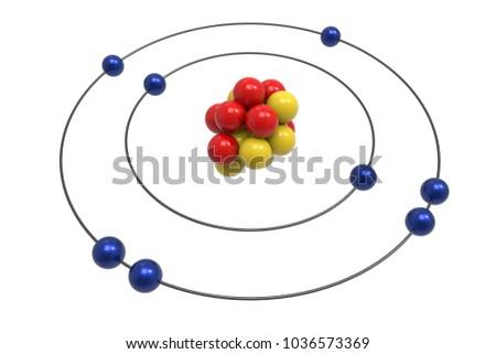 Bohr Model Oxygen Atom Proton Neutron Stock Illustration 1036573369