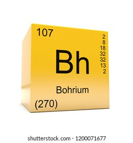 Bohrium chemical element symbol from the periodic table displayed on glossy yellow cube 3D render