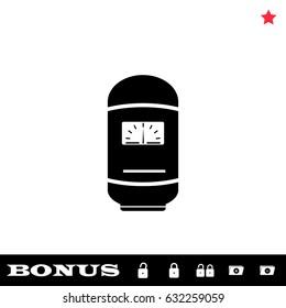 Boiler icon flat. Simple black pictogram on white background. Illustration symbol and bonus icons open and closed lock, folder, star