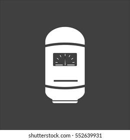 Boiler icon flat. White symbol illustration isolated on grey background