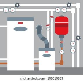 Boiler room.Raster illustration.