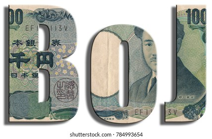 BoJ, Bank of Japan, Japanese central bank. Yen texture.