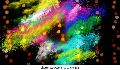Bokeh abstract blurred lights with coloful party splashes