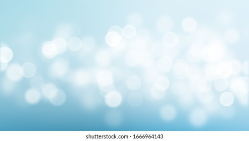 Bokeh light on blue background, sky with circle glitter light blur. Abstract soft glowing snow with vivid bright light and bokeh blur effect