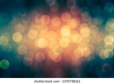 Bokeh light, shimmering blur spot lights on orange. llustration digital.