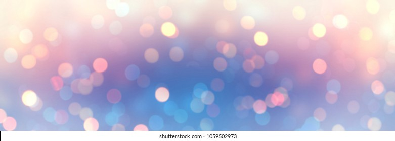 Bokeh romantic banner. Blurred texture iridescent glitter. Empty background winter holiday. Defocus pattern blue pink yellow glare. Abstract template fantasy garland lights.