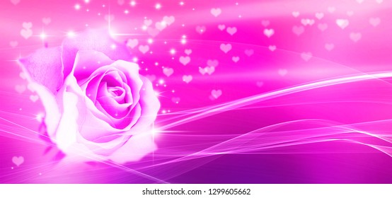 Bokeh, rose and hearts pink background
