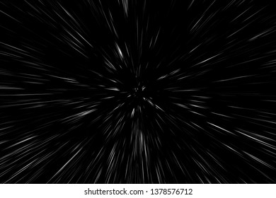 Bokeh white lines on black background. speed light motion blur texture, star particle or space traveling
