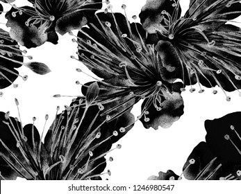 Bold Abstract Floral Pattern. Big Exotic Seamless Print on Black and White Background. Large Hawaiian Spring Aquarelle Maracuja Endless Background. Modern Bold Abstract Floral Pattern.