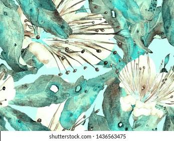 Bold Abstract Floral Pattern. Big Jungle Seamless Print on Blue, Indigo Background. Large Hawaii Summer Aquarelle Maracuya Endless Background. Modern Bold Abstract Floral Pattern.