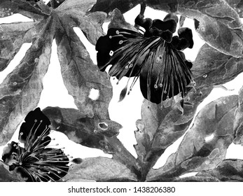 Bold Abstract Floral Pattern. Big Jungle Seamless Print on Black and White Background. Big Exotic Spring Watercolor Granadilla Endless Background. Modern Bold Abstract Floral Pattern.