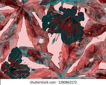 Bold Abstract Floral Pattern. Large Hawaiian Seamless Print on Red Background. Large Jungle Spring Aquarelle Lilikoi Endless Background. Modern Bold Abstract Floral Pattern.