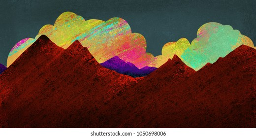 bold colorful mountain and sky landscape painting, digital graphic art design background in dramatic nature scene illustration in red brown purple yellow pink and blue green sponged paint with texture