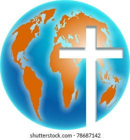 Bold colourful illustration of a blue and orange coloured globe of the whole world with a bright cross symbol cut out of it.