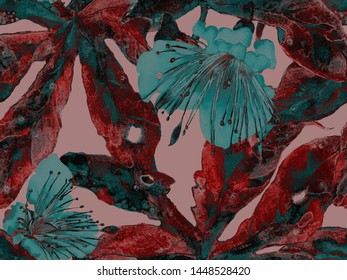Bold Floral Design. Big Exotic Seamless Print on Green and Red Background. Large Hawaiian Spring Watercolor Lilikoi Endless Background. Artistic Bold Floral Design.
