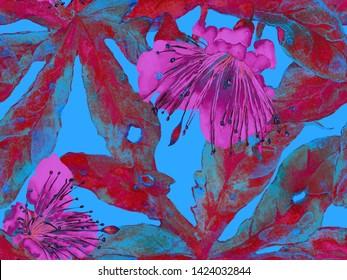 Bold Floral Design. Big Jungle Seamless Print on Purple Background. Big Exotic Summer Watercolor Maracuja Endless Background. Artistic Bold Floral Design.