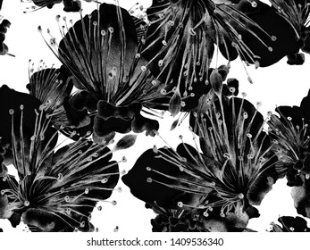 Bold Floral Design. Big Tropical Seamless Print on Black and White Background. Big Jungle Summer Aquarelle Maracuja Endless Background. Artistic Bold Floral Design.