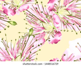 Bold Floral Design. Big Tropical Seamless Print on Pink and Yellow Background. Big Hawaii Summer Aquarelle Lilikoi Endless Background. Artistic Bold Floral Design.