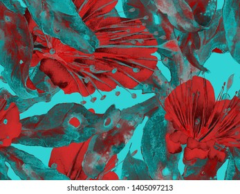 Bold Floral Design. Large Hawaii Seamless Print on Green, Blue Background. Large Hawaiian Summer Watercolor Maracuja Endless Background. Artistic Bold Floral Design.