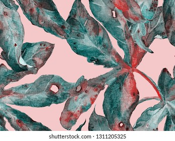 Bold Floral Pattern. Big Exotic Seamless Print on Green and Red Background. Big Hawaii Spring Aquarelle Lilikoi Endless Background. Bold Florals Design.