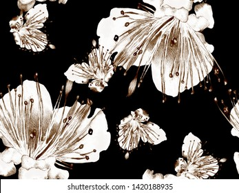 Bold Floral Pattern. Big Hawaii Seamless Print on Black and White Background. Big Hawaii Summer Watercolour Passion fruit Endless Background. Bold Florals Design.