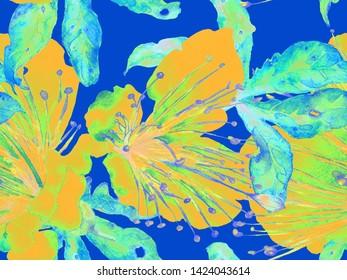 Bold Floral Pattern. Big Hawaii Seamless Print on Blue, Indigo Background. Large Hawaii Spring Aquarelle Lilikoi Endless Background. Bold Florals Design.