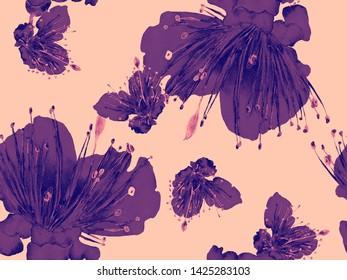 Bold Floral Pattern. Big Hawaii Seamless Print on Red Background. Big Hawaiian Spring Watercolor Lilikoi Endless Background. Bold Florals Design.