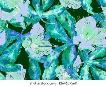 Bold Floral Pattern. Big Jungle Seamless Print on Blue, Indigo Background. Large Exotic Summer Watercolor Lilikoi Endless Background. Bold Florals Design.