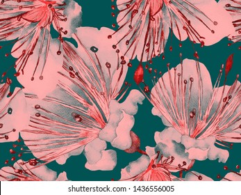 Bold Floral Pattern. Large Exotic Seamless Print on Green and Red Background. Big Tropical Summer Aquarelle Lilikoi Endless Background. Bold Florals Design.