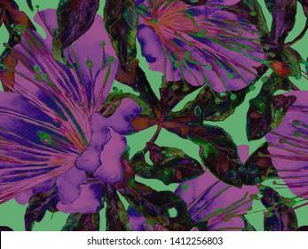 Bold Floral Pattern. Large Hawaii Seamless Print on Purple Background. Big Jungle Spring Aquarelle Maracuja Endless Background. Bold Florals Design.