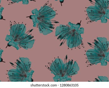 Bold Floral Pattern. Large Hawaiian Seamless Print on Green and Red Background. Big Hawaii Spring Watercolour Lilikoi Endless Background. Bold Florals Design.