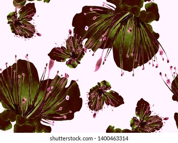 Bold Floral Print. Big Exotic Seamless Print on Green Background. Large Hawaii Spring Watercolour Lilikoi Endless Background. Trendy Bold Floral Print.