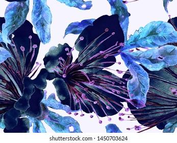 Bold Floral Print. Big Hawaii Seamless Print on Blue, Indigo Background. Large Hawaii Spring Aquarelle Lilikoi Endless Background. Trendy Bold Floral Print.