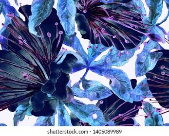 Bold Floral Print. Large Hawaiian Seamless Print on Blue, Indigo Background. Large Hawaii Summer Watercolour Maracuja Endless Background. Trendy Bold Floral Print.