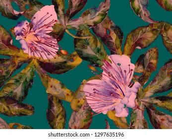 Bold Floral Print. Large Jungle Seamless Print on Green, Blue Background. Big Hawaii Summer Aquarelle Lilikoi Endless Background. Trendy Bold Floral Print.