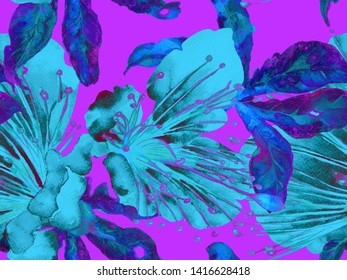 Bold Florals. Large Hawaii Seamless Print on Purple Background. Large Exotic Summer Watercolour Maracuja Endless Background. Abstract Bold Florals Print.