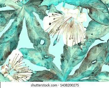 Bold Flower Pattern. Big Hawaii Seamless Print on Blue, Indigo Background. Large Hawaii Summer Watercolour Lilikoi Endless Background. Modern Bold Flower Pattern.