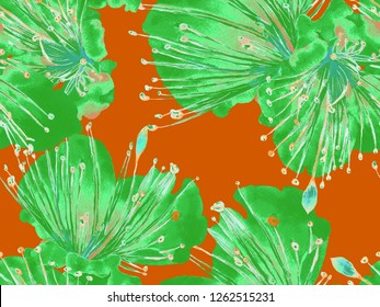 Bold Flower Pattern. Big Hawaiian Seamless Print on Green Background. Large Tropical Summer Watercolor Lilikoi Endless Background. Modern Bold Flower Pattern.