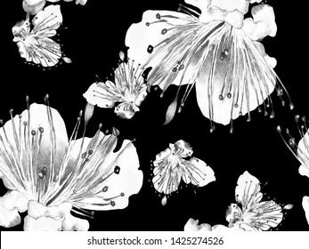 Bold Flower Pattern. Big Tropical Seamless Print on Black and White Background. Big Hawaii Spring Aquarelle Lilikoi Endless Background. Modern Bold Flower Pattern.