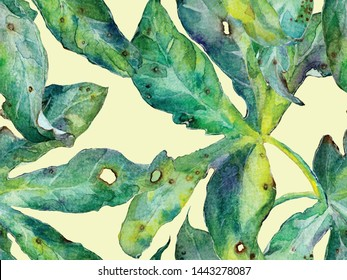 Bold Flower Pattern. Big Tropical Seamless Print on Green Background. Big Jungle Summer Watercolour Lilikoi Endless Background. Modern Bold Flower Pattern.