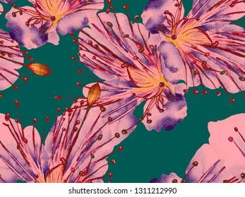Bold Flower Pattern. Large Hawaiian Seamless Print on Red Background. Large Hawaii Spring Watercolour Lilikoi Endless Background. Modern Bold Flower Pattern.