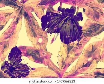 Bold Flower Pattern. Large Jungle Seamless Print on Red Background. Large Jungle Spring Watercolour Lilikoi Endless Background. Modern Bold Flower Pattern.
