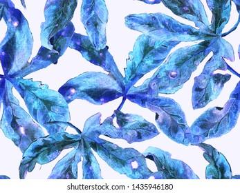 Bold Flower Pattern. Large Tropical Seamless Print on Blue, Indigo Background. Large Exotic Spring Watercolor Lilikoi Endless Background. Modern Bold Flower Pattern.