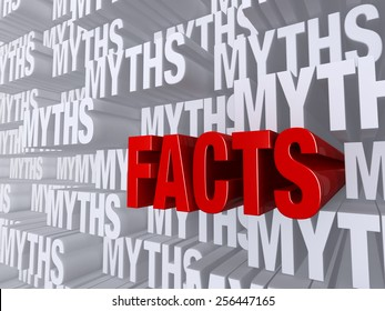 "A bold, red ""FACTS"" dramatically pushes forward out of a light gray background of ""MYTHS"""