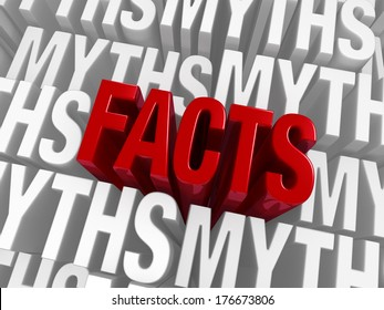 "A bold, red ""FACTS"" emerge from a background of ""MYTHS"""