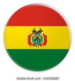 Bolivia Flag Button, News Concept Badge, 3d illustration on white background
